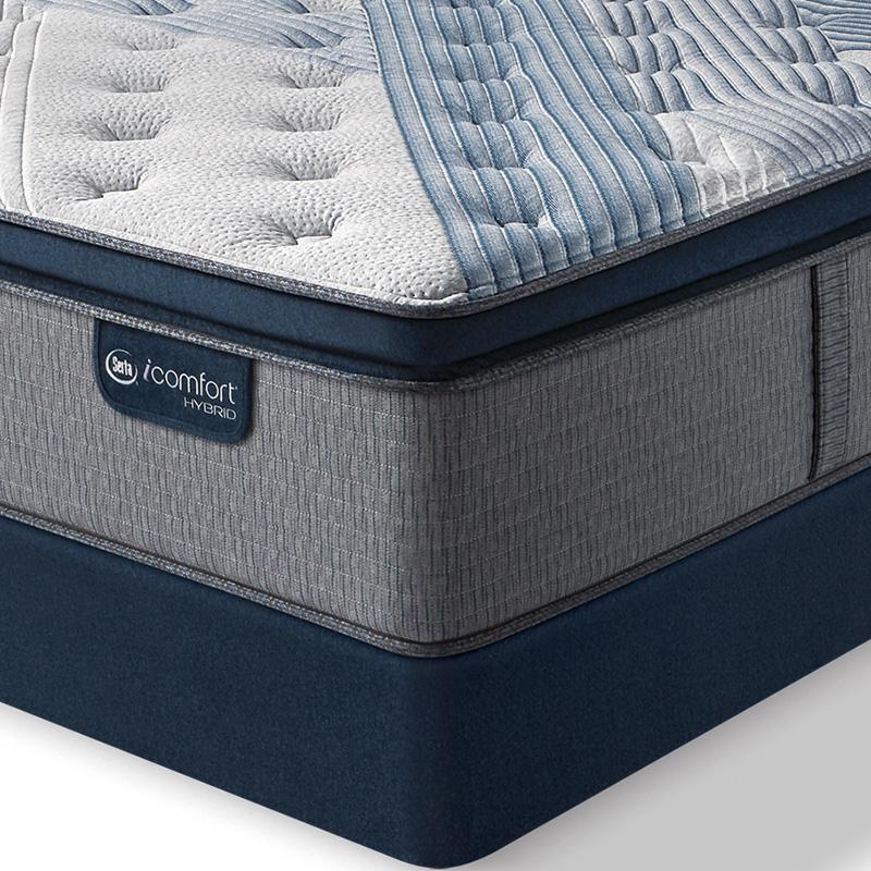 serta icomfort hybrid blue fusion 300 plush pillow top mattress flat set