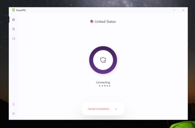 connecting to purevpn server in the usa