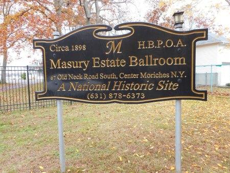 Masury Estate Ballroom sign