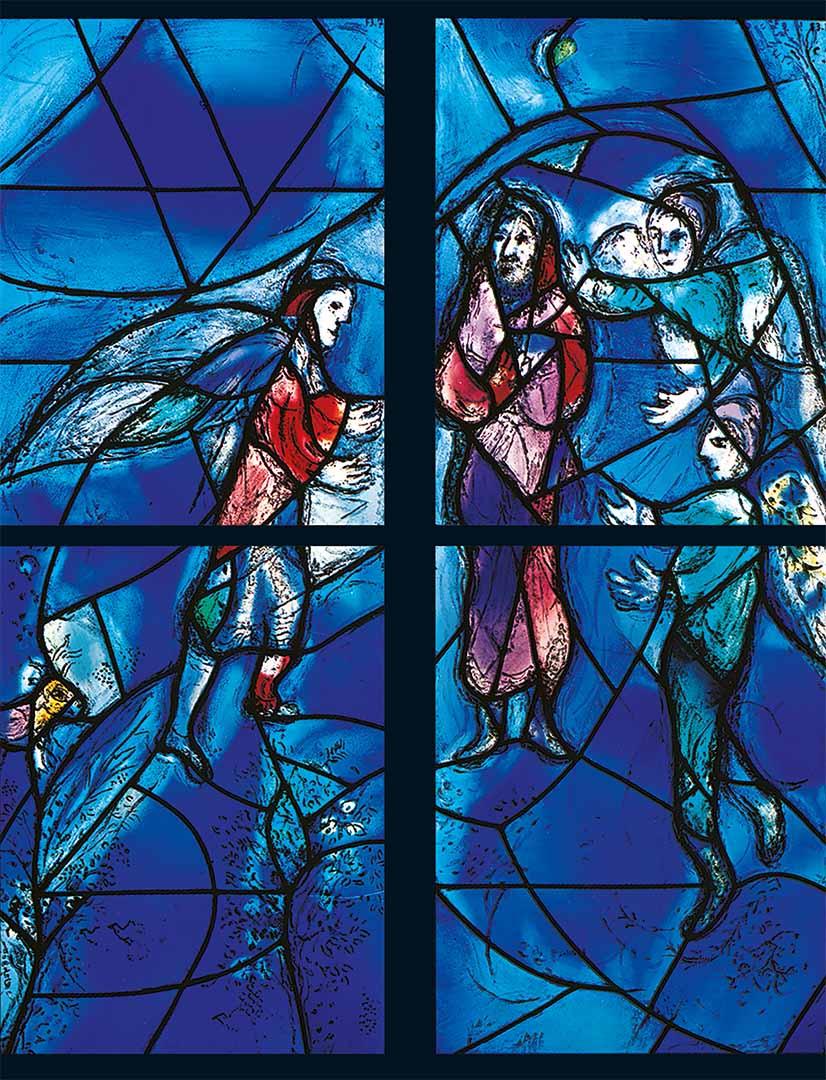 Marc Chagall / Charles Marq, Fürbitte Abrahams, Chorfenster 1978,