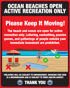 Ocean Beaches Open Active Recreation Sign