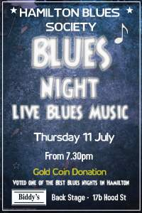Hamilton Blues Society poster for Blues Night July 2019