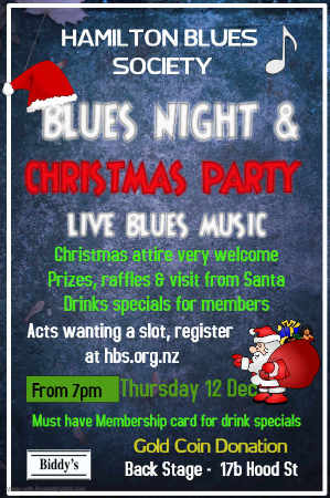 Hamilton Blues Society NZ Christmas Party Poster