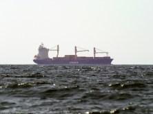 Fotografía tomada a un enorme carguero en la lejanía. La bruma y el desenfoque del mar hacen que parezca casi una maqueta situada sobre la linea de horizonte.