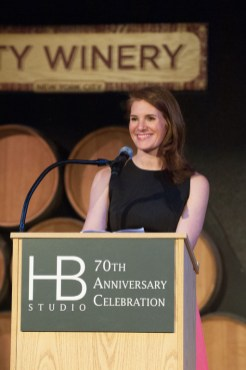 Woman speaking at 70th Anniversary Celebration for HB Studio, provider of NYC acting classes