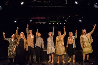A group of actors, including Letty Ferrer, Georga Buchanan, Ellen Orchid, Katherine Keenan, and Lani Tubb, onstage at HB Studio, provider of NYC acting classes