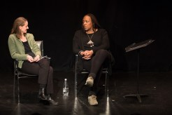 Dael Orlandersmith and Edith Meeks have a conversation on stage at HB Studio.