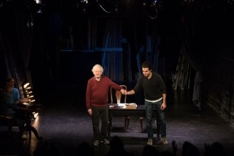 "Austin Pendleton and Christopher Abbott at curtain call for ""A Life in the Theatre"", a benefit for HB Studio, provider of NYC acting classes"