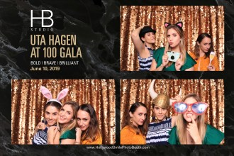 Sonia Mera, Yessi Hernandez, and Andrea Velasco having fun in the photo booth at the Uta Hagen at 100 Gala
