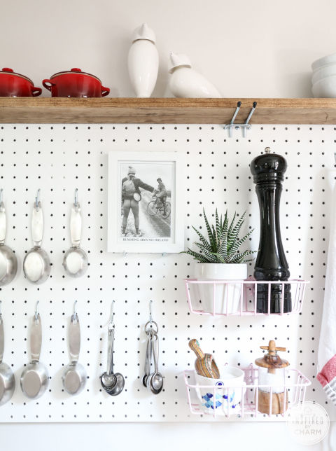 Adding pegboards to your kitchen instantly adds so much space — no longer will your pepper grinder and mortar and pestle take up endless counter space, and your drawers will thank you for moving the measuring cups. See the full pegboard at Inspired By Charm. MORE DIY: 10 Easy DIYs That Will Make Spring Come Quicker