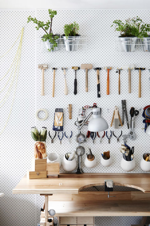 Homeowners have been using pegboards to organize their tools since the dawn of the pegboard, but Kim Victoria Wearne and Stuart Beer upgraded the standard setup with this elegant, minimalist organizational system, as seen at The Design Files.