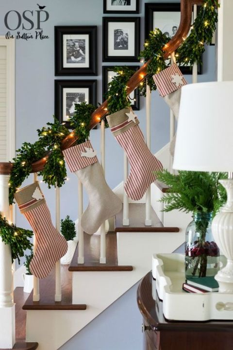 From your banister, that is. Twinkling lights woven throughout the garland make for an even prettier display for this bloggers' stockings. See more at On Sutton Place »