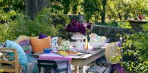 Colorful Outdoor Dining - House Beautiful