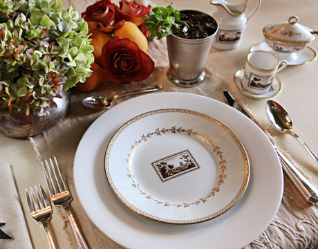 How to Set a Table American Table Setting White Formal Dinner Ware with Gold Accents Floral Centerpiece