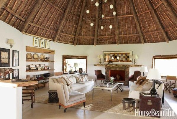 kenya living room design Suzanne Kasler Interiors Kenya House - Open Air House in Kenya
