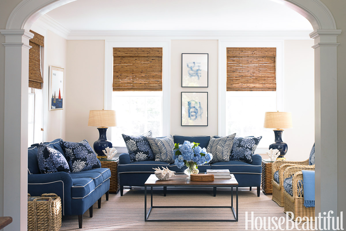 Blue and White Family Room  House Beautiful Pinterest Favorite Pins April 18 2014