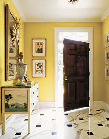 yellow entry way foyer bold dramatic