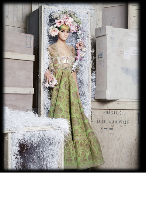 LB: What have you learned from him?<br /> KJ: I've actually learned to be a better model. Whenever I shoot with him, he gives me some tips, little things, pointers. He makes me feel good when I'm working with him—we have good chemistry now.<br /> LB: Okay, some word association. Karl is...<br /> KJ: Amazing. That was boring though! Hmm. Funny? Has great hair? Has amazing hair!<br /> Valentino Haute Couture dress, price upon request, 212-772-6969; Johanna O'Hagan bra, price upon request, johannaohagan.com; Louis Mariette headpiece, $3,100, 011-44-207-730-3050; Cult Gaia headpieces, $75-$100, cultgaia.com; Chopard earrings (worn as brooch on dress), prices upon request,800-CHOPARD.