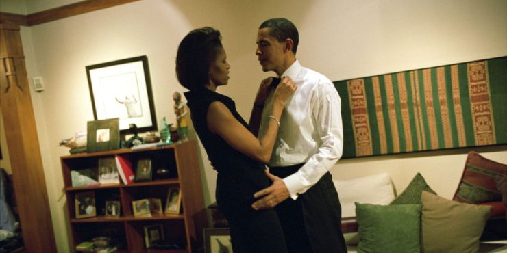 Getting ready at their home in Chicago before Senator Obama addresses the Chicago Economic Club, 2004.