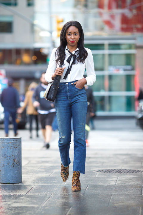"""I've always been a fan of high-waisted anything—and with a 10-inch rise, these 3x1 jeans are my current go-to. A pussy-bow blouse and leopard booties balance out the casual vibe of the boot cut.""3x1 jeans, $285, 3x1.us; Alice + Olivia top, $275, aliceandolivia.com; Tabitha Simmons boots, similar style, $795, shopBAZAAR.com; 3.1 Phillip Lim bag, $1,050, shopBAZAAR.com."