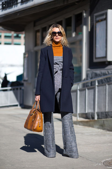 Make summer-y jumpsuits or coordinating separates work for the cold weather by styling a turtleneck underneath.