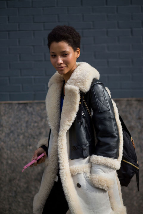 Lineisy Montero in Coach coat