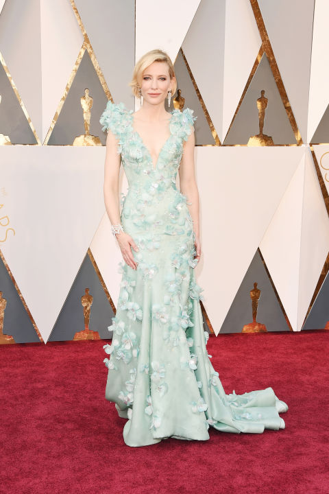 Cate Blanchett opted for a romantic, subtle seafoam green sheath by Armani Privé for the 2016 Oscars, adorned with fluttering appliqués. Looking for a fashion forward alternative to ivory? Try a pastel that suits your skin tone.