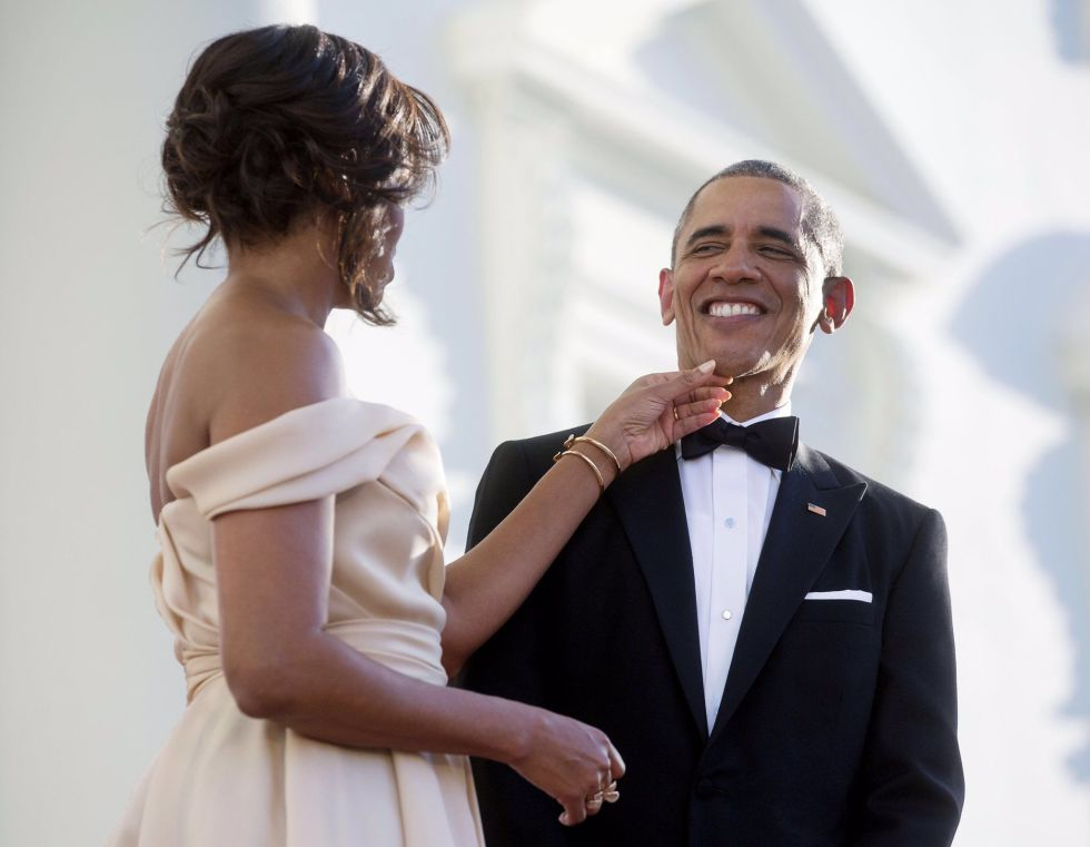 """For the president's 55th birthday, Michelle posted this sweet moment of her and Barack on Twitter and Instagram, with the heartfelt message: """"55 years young and that smile still gets me every single day. Happy birthday, Barack. I love you. -mo"""" on August 4, 2016."""