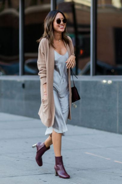 Adding a cardigan on top is cute ways to wear slip dresses!