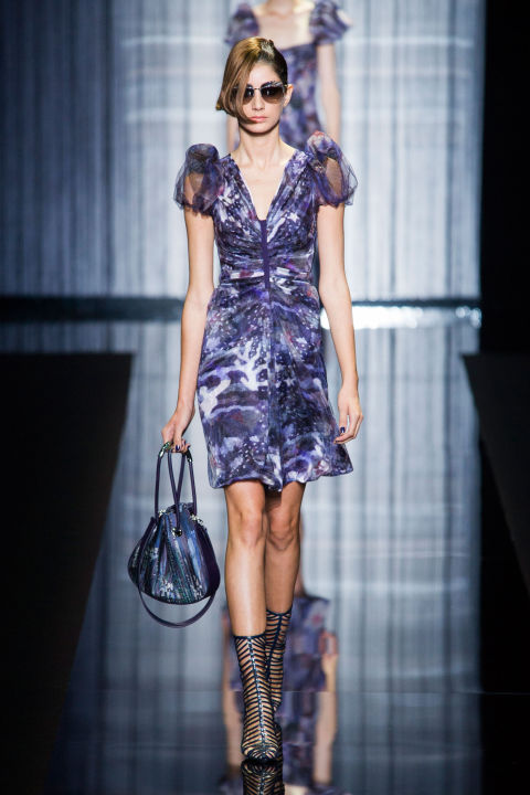 The color palette was as cool Mr. Armani himself—gray, dark blues and silver. All accented by little black sandals and caged booties that sparkled.