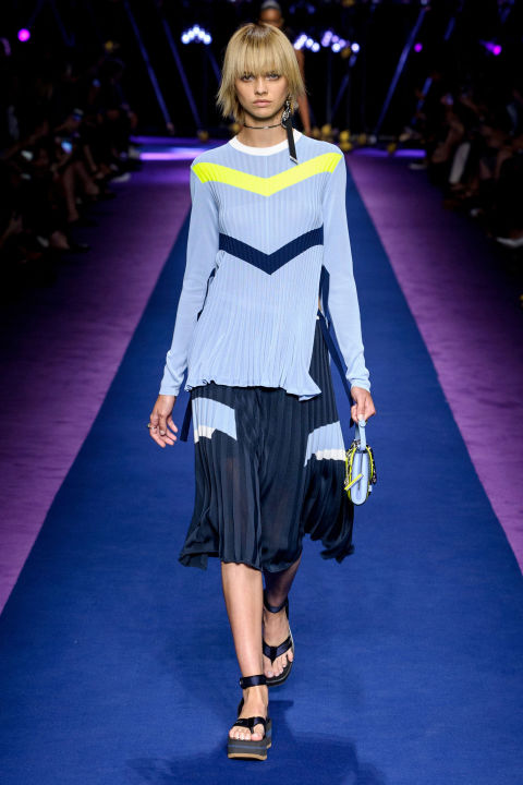 Ribbed jersey was transformed into terrific pleated sweaters and swingy skirts in pastel and neutral mixes and tons of colorful snug knits. The weight of jersey made everything flattering.
