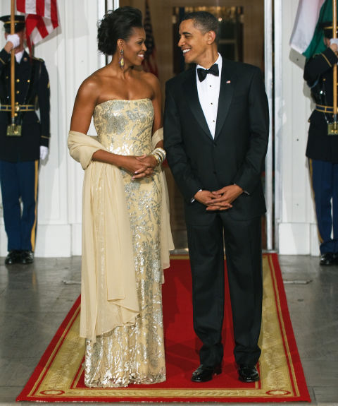 For her first State Dinner, the First Lady wore a strapless, fitted gown by Indian-American designer Naeem Khan.