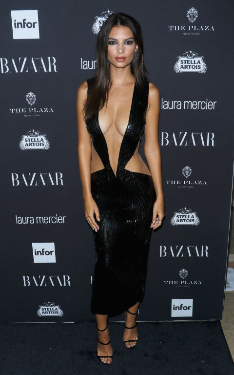 Emily Ratajkowski's gravity-defying Julien Macdonald dress understandably attracted interest at the US Harper's Bazaar Icons party this September.