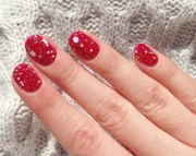 red nail art design - cute