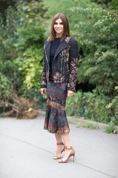 A barely-there ankle-strap sandal goes with just about anything and lengthens your legs. Carine Roitfeld in Givenchy Sandals