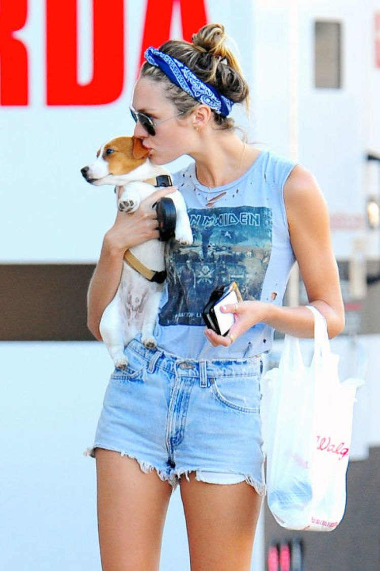 Candice Swanepoel gives the look daytime appeal—cute pup not required.<br />