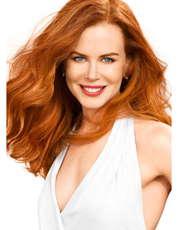 Nicole Kidman wears a viscose gown, $645, Diane von Furstenberg. 646-486-4800. earrings, $14,550, Cartier. 800-CARTIER.