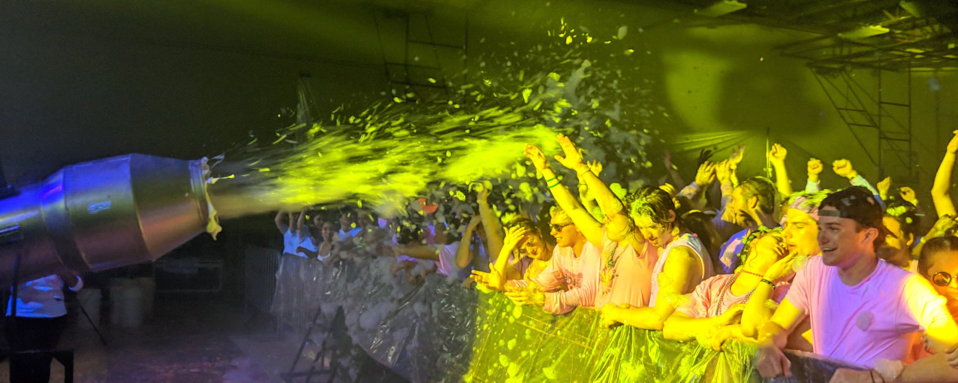 Hastings College students are having a great time at Operation Glow while getting sprayed with foam, a new addition for the 2019 Operation Glow.