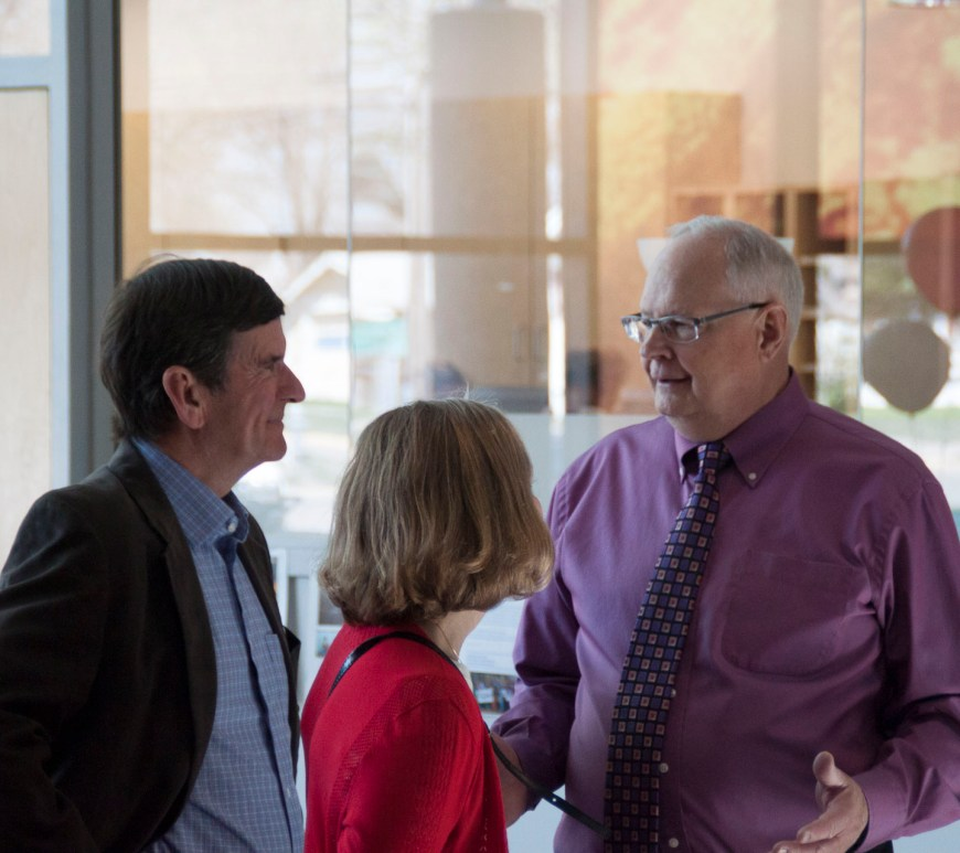 Lee Wigert socializes during his retirement reception.