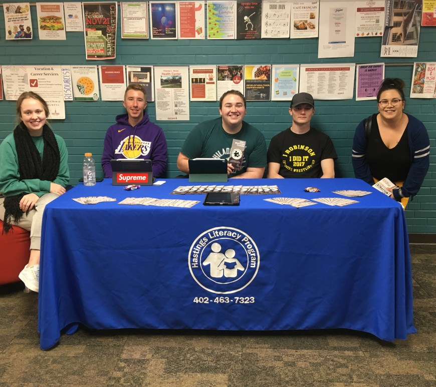 From Left: Junior Emma Redinger, Sophomore Keaton Ludwig, Senior Basil Rabayda, Junior Riley DeMent and Group Volunteer Sponsor Christine Haba sit outside the cafeteria on Nov. 20.