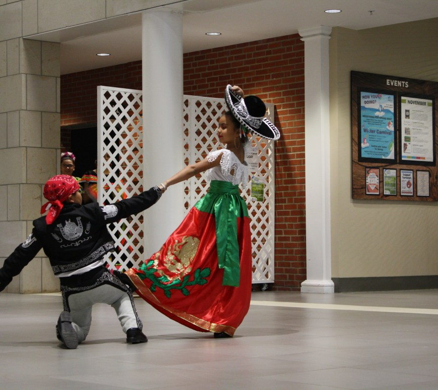 Two dancers from the Raices de mi Pueblo Ballet Folklorico group perform at CCC for the Cultural Connect event.