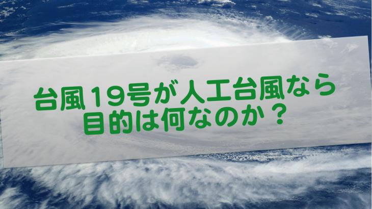 台風を人工的に発生させたとしたら何が目的なのか?