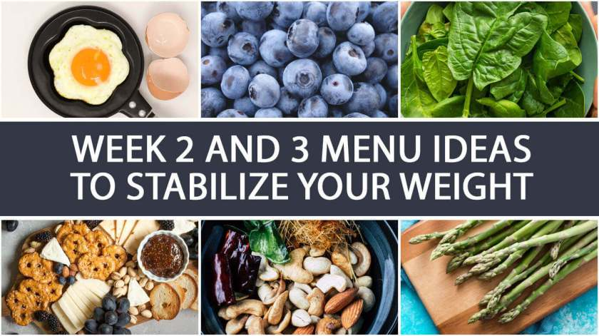 Week 2 and 3 Menu Ideas to Stabilize your Weight