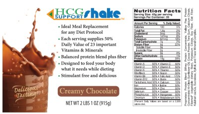 HCG Meal Replacement Shake Nutritional Facts
