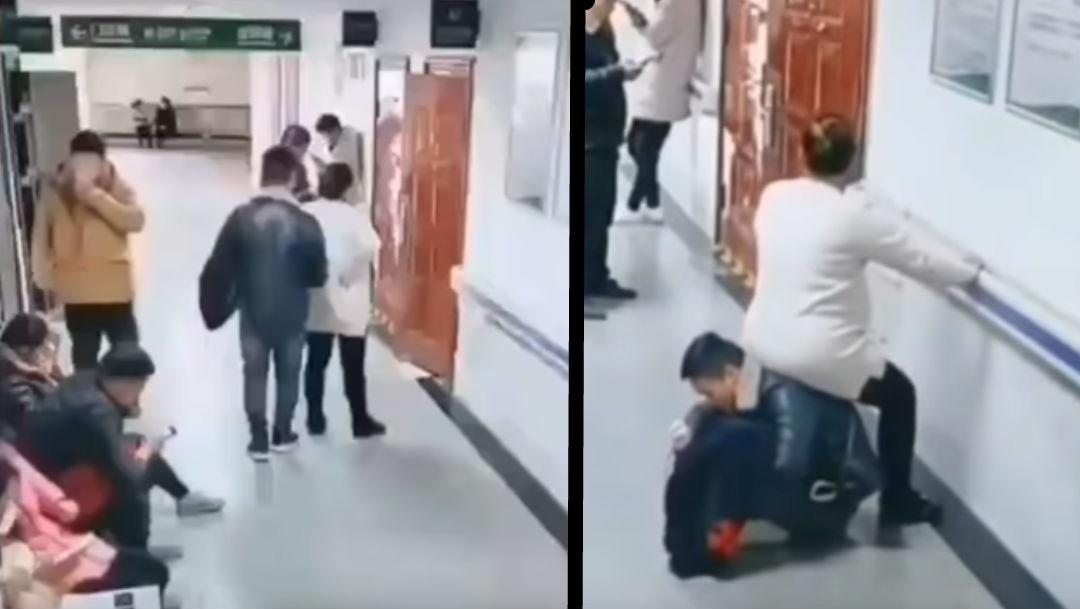 Embarazada se sienta en espalda de su esposo en hospital