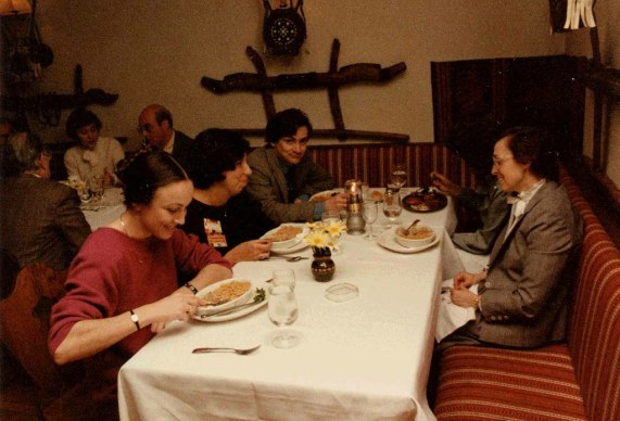 Mountford dines with colleagues at the ACM CHI Conference on Human Factors in Computing Systems in San Francisco, CA in April 1985.