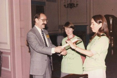 Bly with Raoul Smith (left) and Susan Dray (center) at the ACM CHI Conference on Human Factors in Computing Systems in Boston, MA in April 1986.