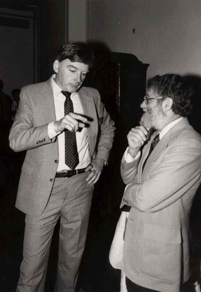 Norman talks with John Gould (left) at the ACM CHI Conference on Human Factors in Computing Systems in Boston, MA in April 1986.