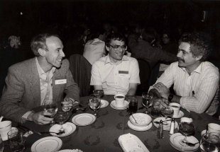 Winograd with Jeff Conklin (left) and Ian Benson (center) at the first ACM Conference on computer-supported cooperative work (CSCW) in Austin, TX in December 1986.