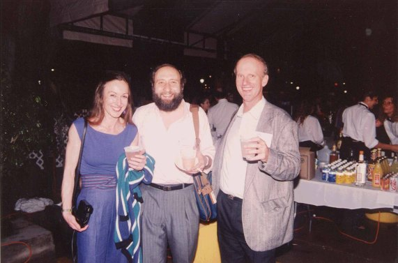 Mountford with Ben Shneiderman (center) and John Lovgren (right) at the ACM CHI Conference on Human Factors in Computing Systems in New Orleans, LA in April 1991.